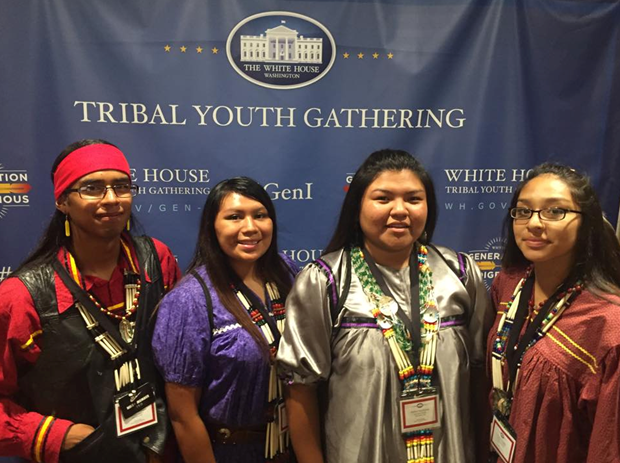 Coloradas Mangas, Tristine Chico, Ashley Kazhe-Kinzhuma, and Trinity Enjady attending the first ever Tribal Youth Gathering in Washington D.C.